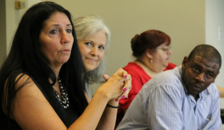 Cheri Honkala, Vice President in the Green Shadow Cabinet (left) speaks to the annual convention of the U.S. Green Party while \